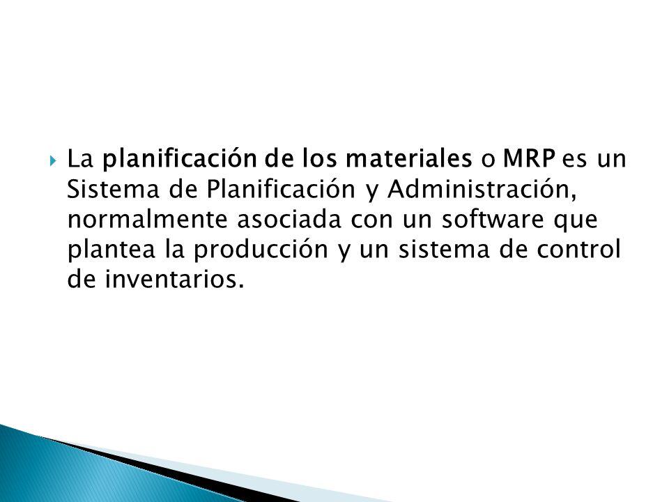 La planificación de los materiales o MRP es un Sistema de Planificación y Administración, normalmente asociada con un software que plantea la producci