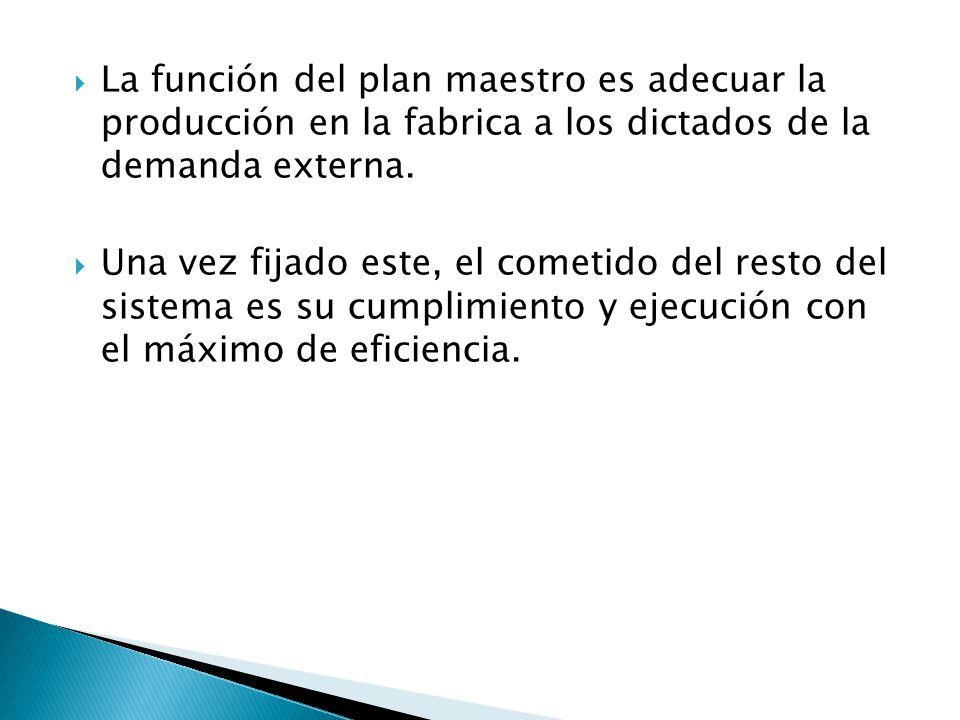 La función del plan maestro es adecuar la producción en la fabrica a los dictados de la demanda externa. Una vez fijado este, el cometido del resto de