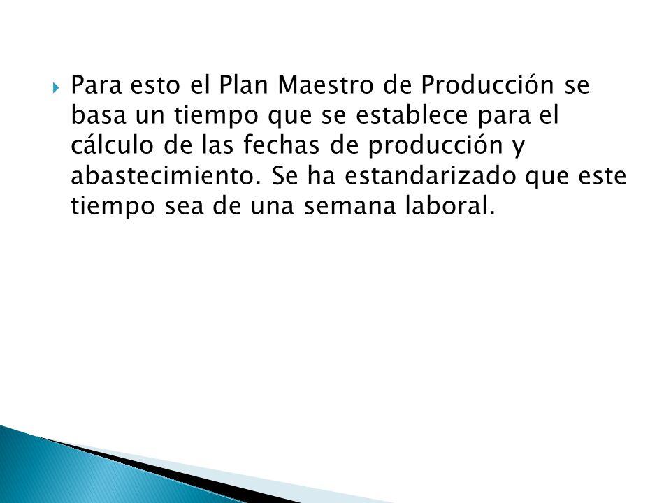 Para esto el Plan Maestro de Producción se basa un tiempo que se establece para el cálculo de las fechas de producción y abastecimiento. Se ha estanda