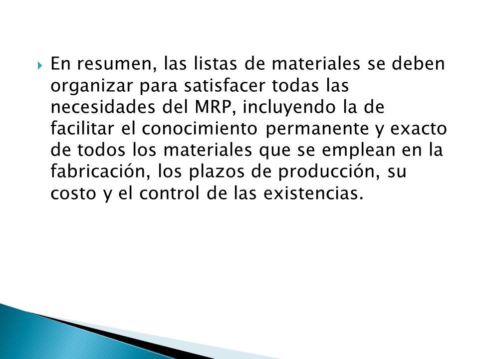 En resumen, las listas de materiales se deben organizar para satisfacer todas las necesidades del MRP, incluyendo la de facilitar el conocimiento perm
