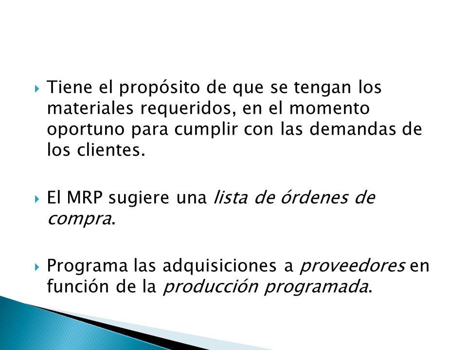 Tiene el propósito de que se tengan los materiales requeridos, en el momento oportuno para cumplir con las demandas de los clientes. El MRP sugiere un