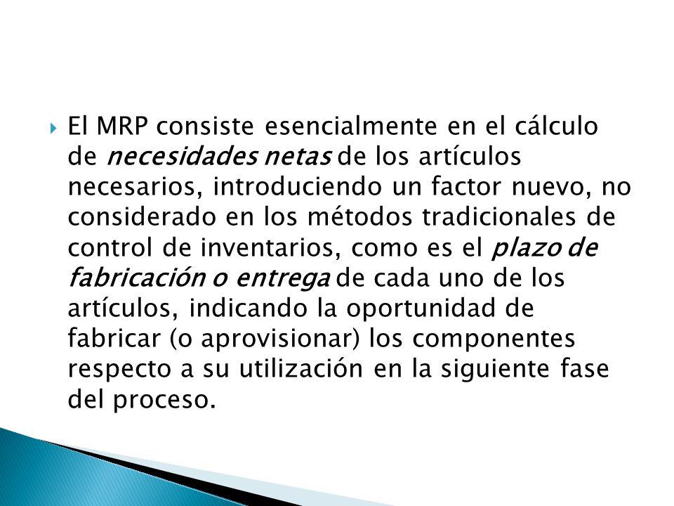 El MRP consiste esencialmente en el cálculo de necesidades netas de los artículos necesarios, introduciendo un factor nuevo, no considerado en los mét