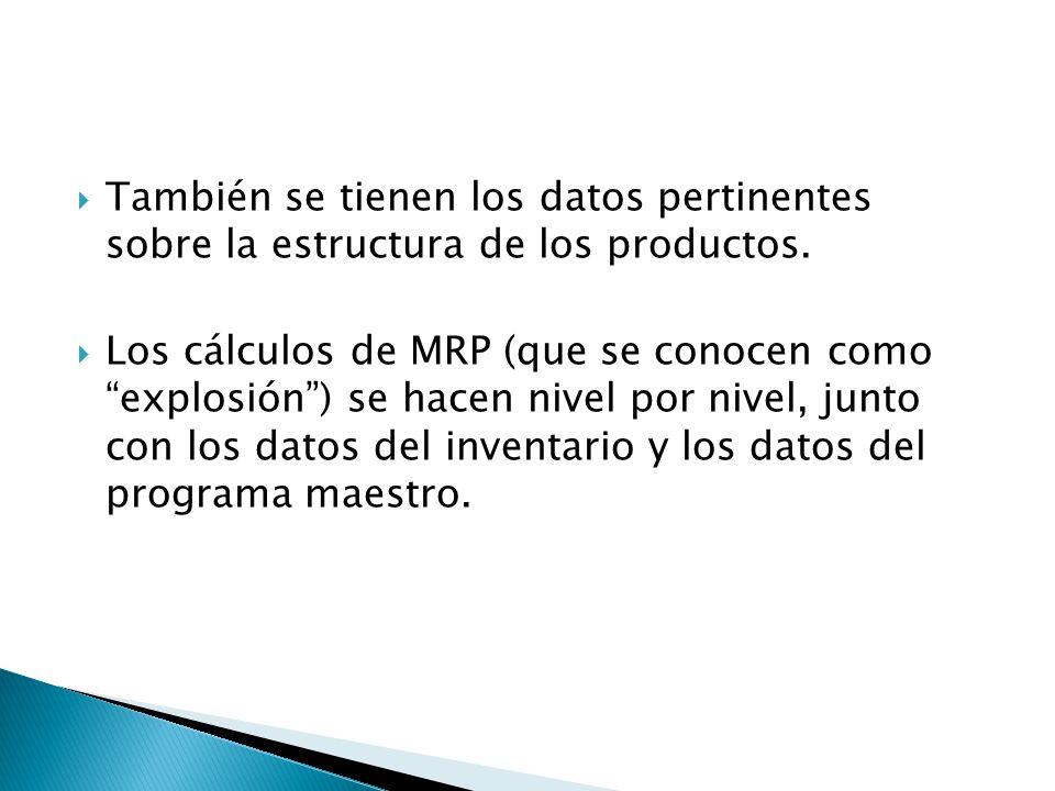 También se tienen los datos pertinentes sobre la estructura de los productos. Los cálculos de MRP (que se conocen como explosión) se hacen nivel por n