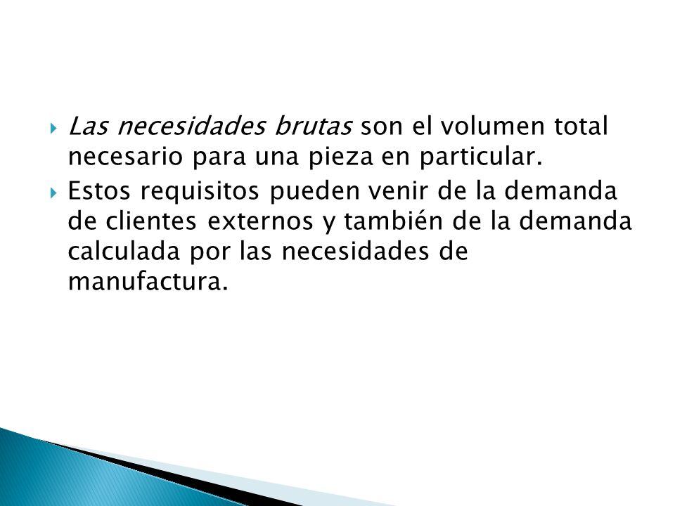 Las necesidades brutas son el volumen total necesario para una pieza en particular. Estos requisitos pueden venir de la demanda de clientes externos y