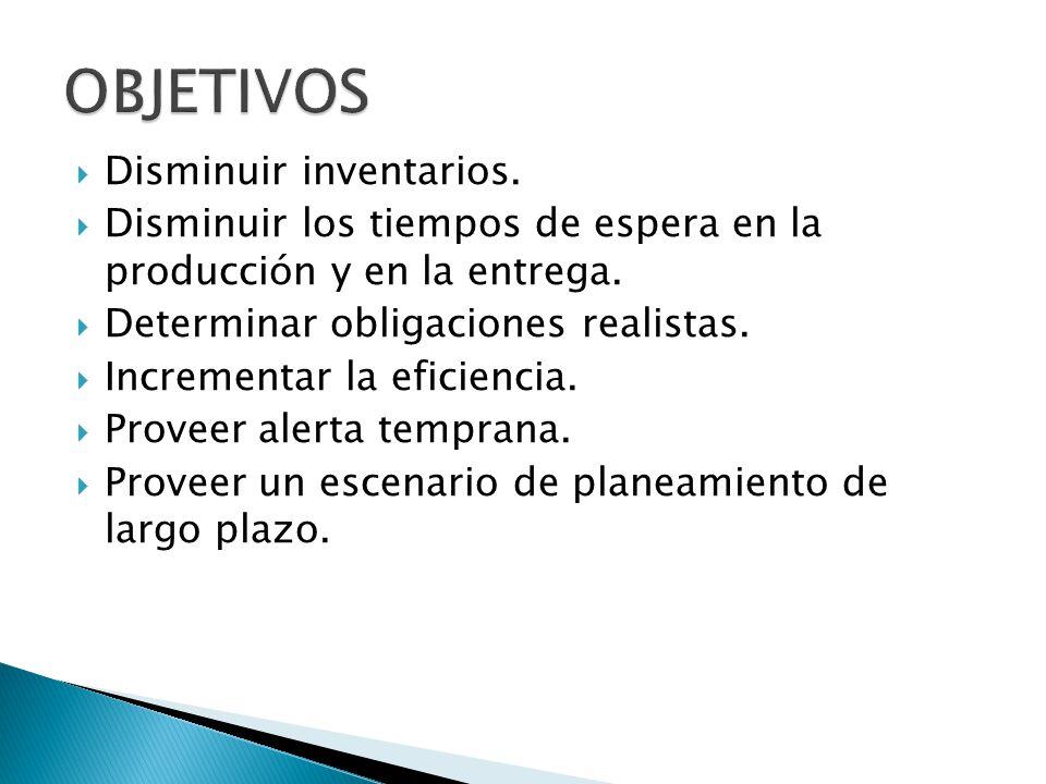 Disminuir inventarios. Disminuir los tiempos de espera en la producción y en la entrega. Determinar obligaciones realistas. Incrementar la eficiencia.