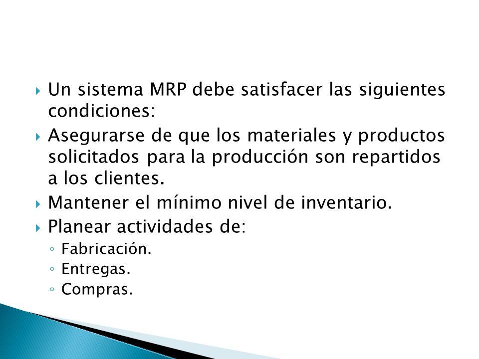 Un sistema MRP debe satisfacer las siguientes condiciones: Asegurarse de que los materiales y productos solicitados para la producción son repartidos