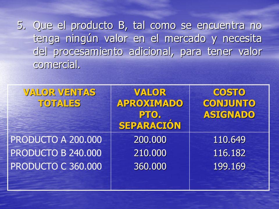 5.Que el producto B, tal como se encuentra no tenga ningún valor en el mercado y necesita del procesamiento adicional, para tener valor comercial. VAL