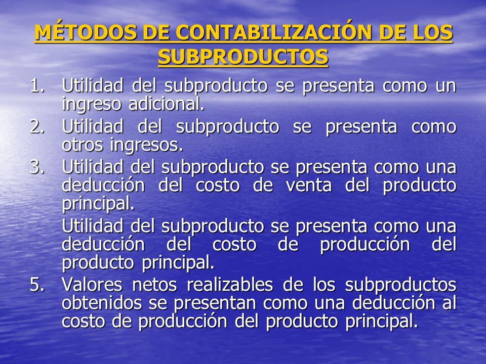 MÉTODOS DE CONTABILIZACIÓN DE LOS SUBPRODUCTOS 1.Utilidad del subproducto se presenta como un ingreso adicional. 2.Utilidad del subproducto se present