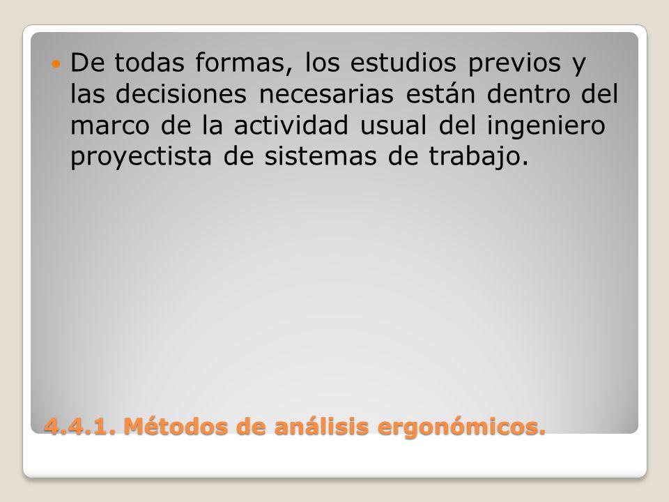 4.4.1. Métodos de análisis ergonómicos. De todas formas, los estudios previos y las decisiones necesarias están dentro del marco de la actividad usual
