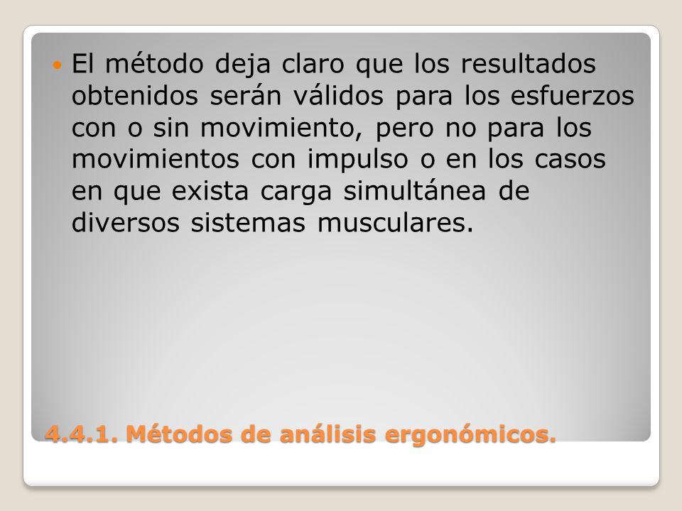 4.4.1. Métodos de análisis ergonómicos. El método deja claro que los resultados obtenidos serán válidos para los esfuerzos con o sin movimiento, pero