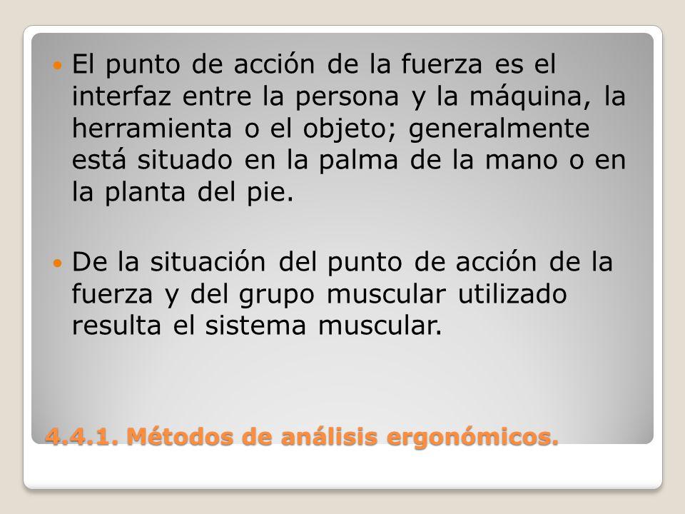 4.4.1. Métodos de análisis ergonómicos. El punto de acción de la fuerza es el interfaz entre la persona y la máquina, la herramienta o el objeto; gene