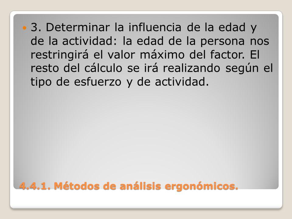 4.4.1. Métodos de análisis ergonómicos. 3. Determinar la influencia de la edad y de la actividad: la edad de la persona nos restringirá el valor máxim