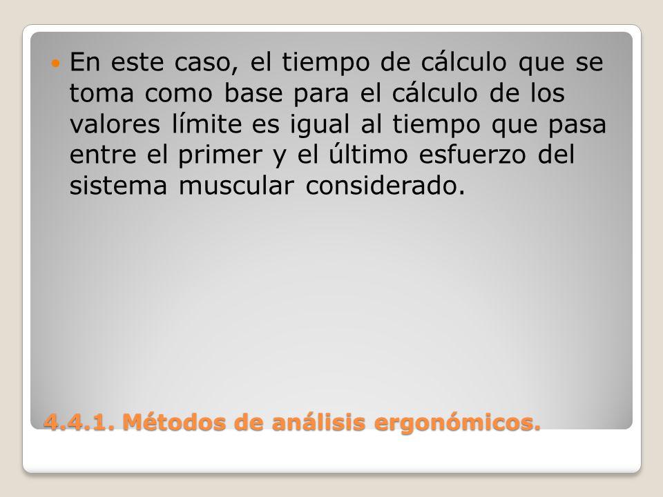 4.4.1. Métodos de análisis ergonómicos. En este caso, el tiempo de cálculo que se toma como base para el cálculo de los valores límite es igual al tie