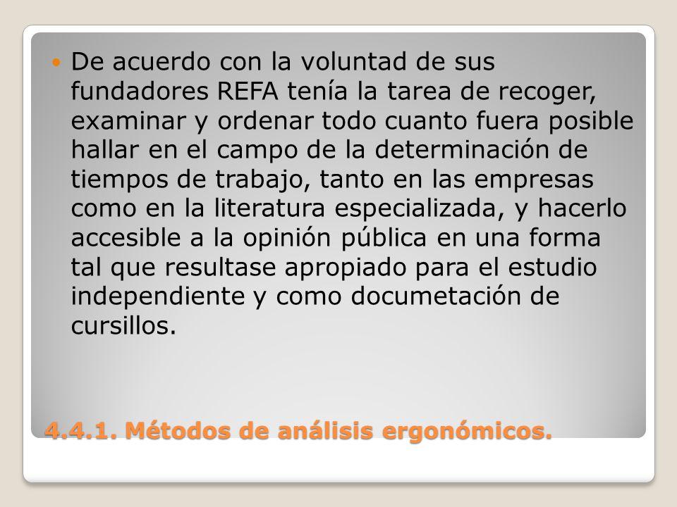 4.4.1. Métodos de análisis ergonómicos. De acuerdo con la voluntad de sus fundadores REFA tenía la tarea de recoger, examinar y ordenar todo cuanto fu