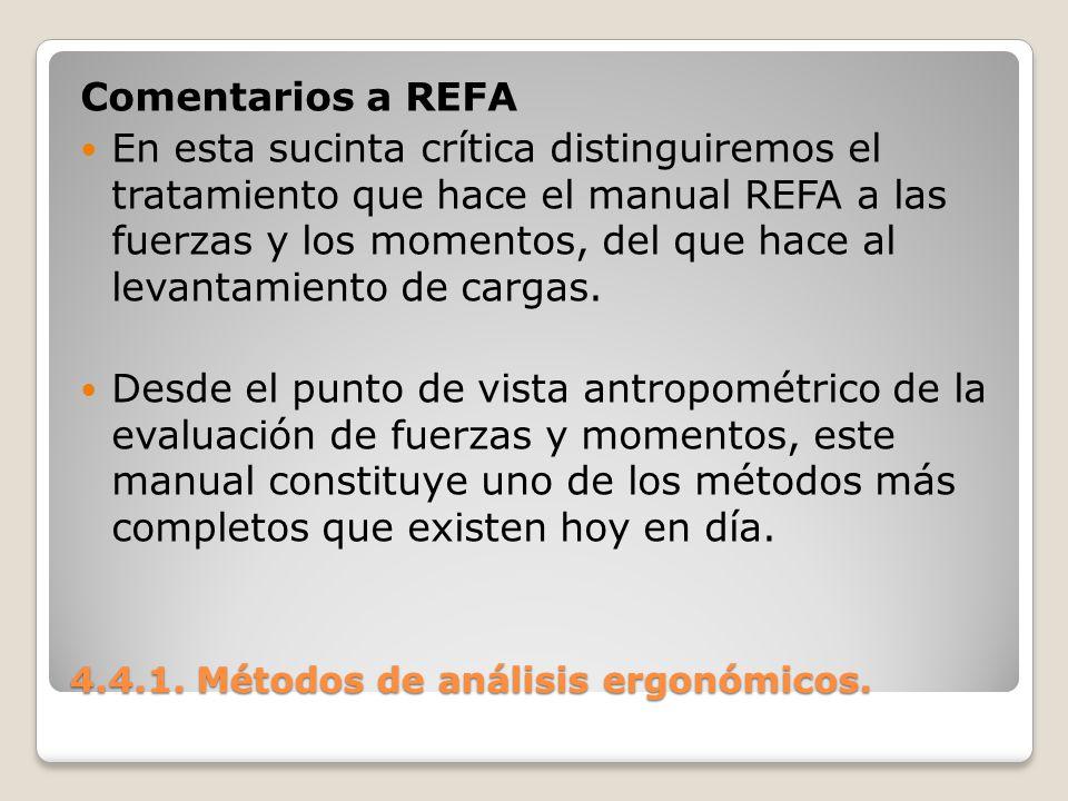 4.4.1. Métodos de análisis ergonómicos. Comentarios a REFA En esta sucinta crítica distinguiremos el tratamiento que hace el manual REFA a las fuerzas