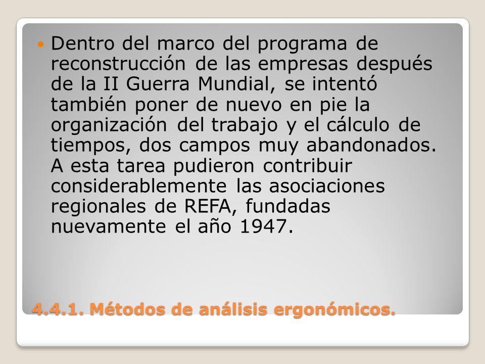 4.4.1. Métodos de análisis ergonómicos. Dentro del marco del programa de reconstrucción de las empresas después de la II Guerra Mundial, se intentó ta