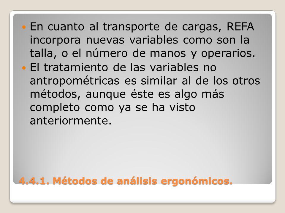 4.4.1. Métodos de análisis ergonómicos. En cuanto al transporte de cargas, REFA incorpora nuevas variables como son la talla, o el número de manos y o