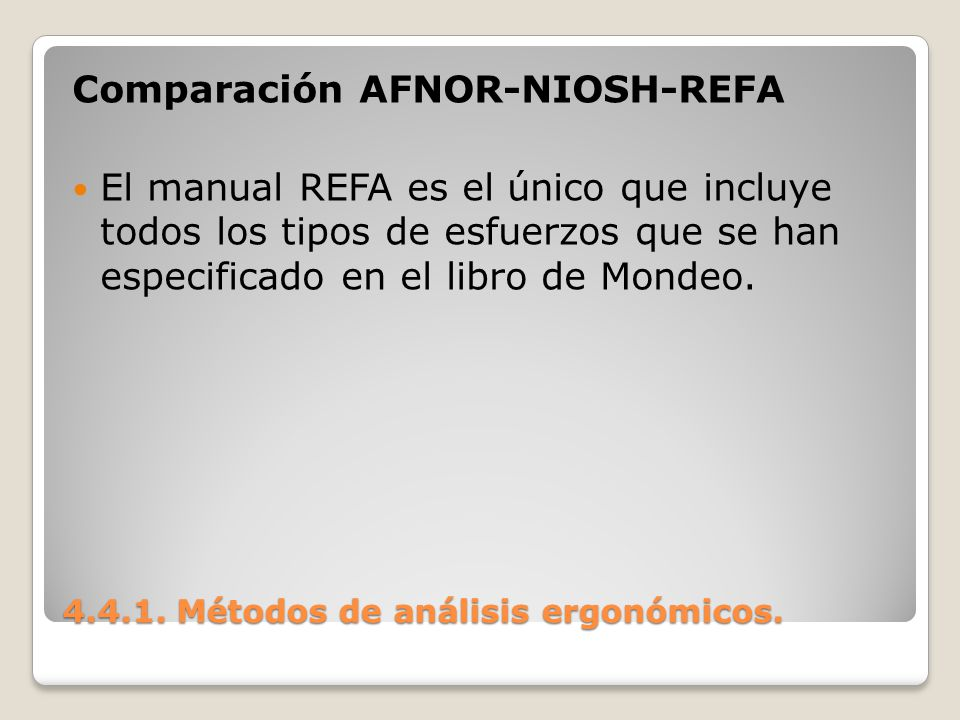 4.4.1. Métodos de análisis ergonómicos. Comparación AFNOR-NIOSH-REFA El manual REFA es el único que incluye todos los tipos de esfuerzos que se han es