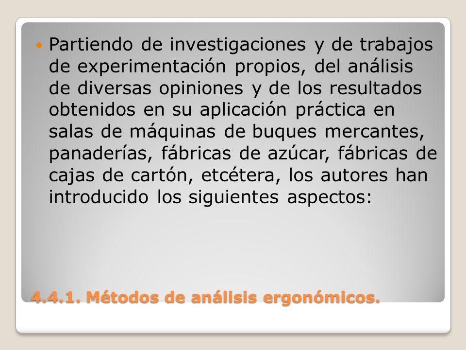 4.4.1. Métodos de análisis ergonómicos. Partiendo de investigaciones y de trabajos de experimentación propios, del análisis de diversas opiniones y de