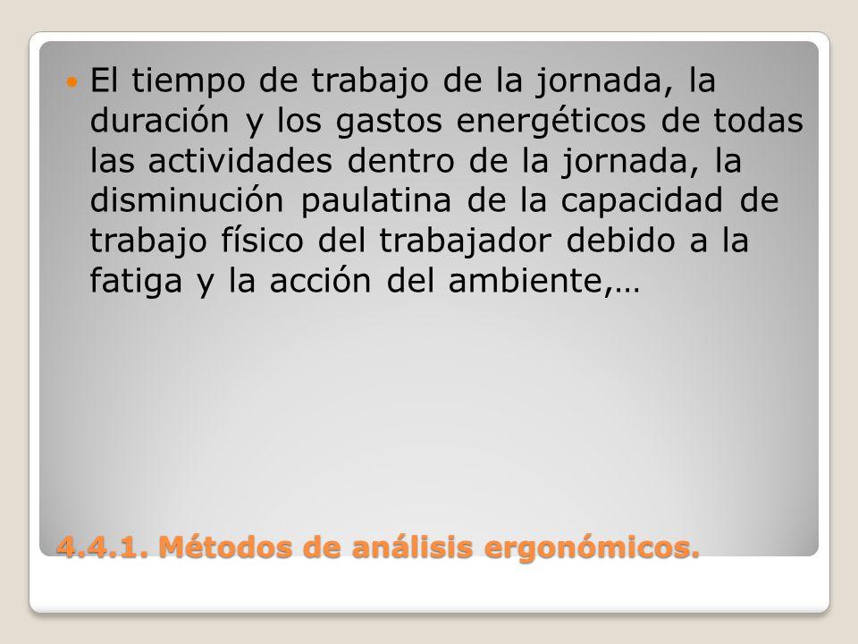 4.4.1. Métodos de análisis ergonómicos. El tiempo de trabajo de la jornada, la duración y los gastos energéticos de todas las actividades dentro de la