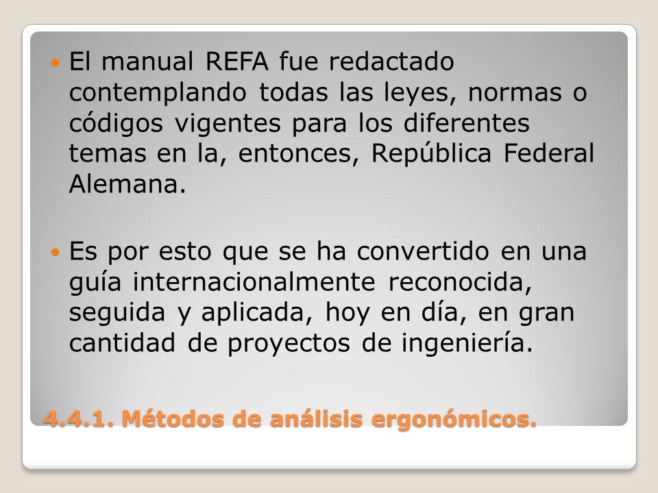 4.4.1. Métodos de análisis ergonómicos. El manual REFA fue redactado contemplando todas las leyes, normas o códigos vigentes para los diferentes temas