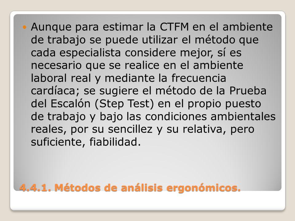 4.4.1. Métodos de análisis ergonómicos. Aunque para estimar la CTFM en el ambiente de trabajo se puede utilizar el método que cada especialista consid