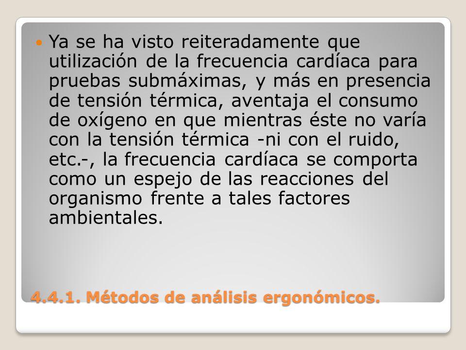 4.4.1. Métodos de análisis ergonómicos. Ya se ha visto reiteradamente que utilización de la frecuencia cardíaca para pruebas submáximas, y más en pres