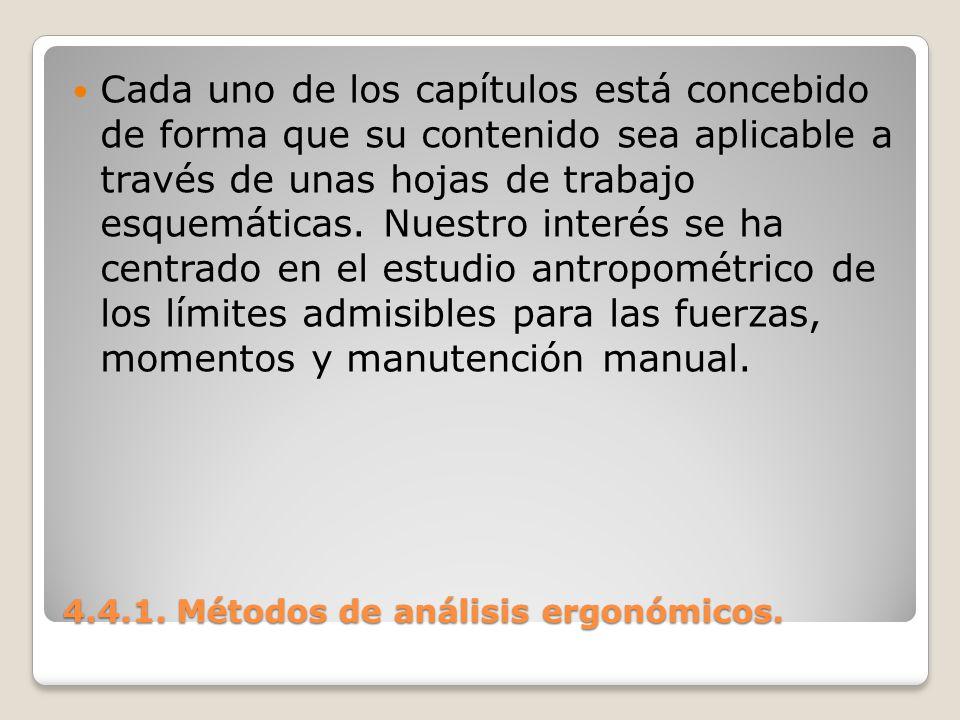 4.4.1. Métodos de análisis ergonómicos. Cada uno de los capítulos está concebido de forma que su contenido sea aplicable a través de unas hojas de tra