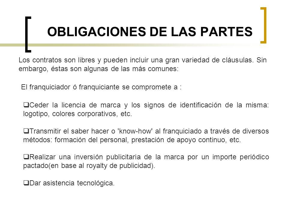 OBLIGACIONES DE LAS PARTES Los contratos son libres y pueden incluir una gran variedad de cláusulas. Sin embargo, éstas son algunas de las más comunes