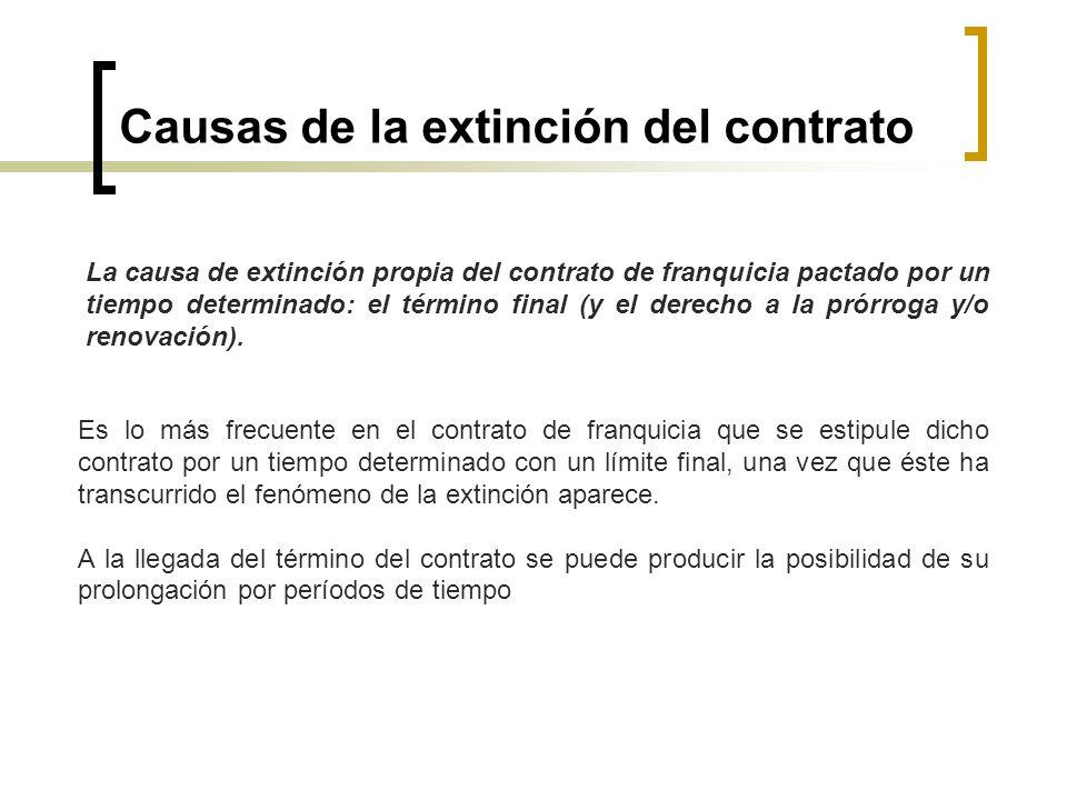 Causas de la extinción del contrato La causa de extinción propia del contrato de franquicia pactado por un tiempo determinado: el término final (y el