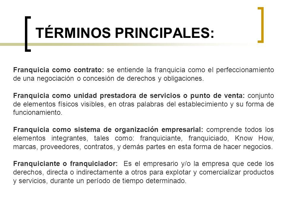 TÉRMINOS PRINCIPALES: Franquicia como contrato: se entiende la franquicia como el perfeccionamiento de una negociación o concesión de derechos y oblig