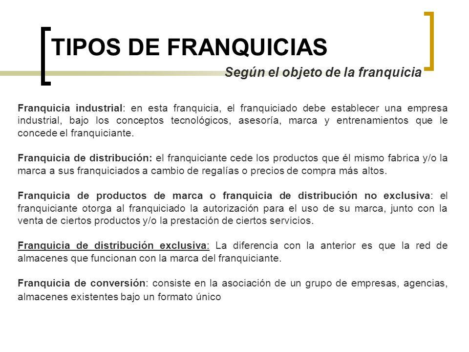 TIPOS DE FRANQUICIAS Según el objeto de la franquicia Franquicia industrial: en esta franquicia, el franquiciado debe establecer una empresa industria