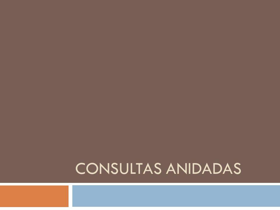 CONSULTAS ANIDADAS