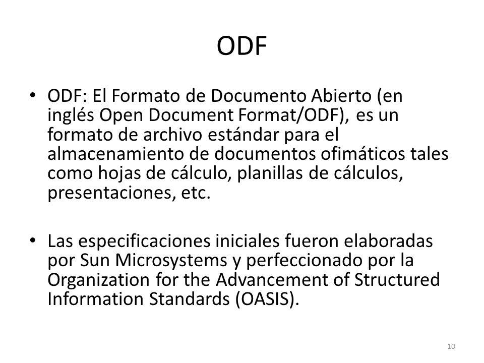 ODF ODF: El Formato de Documento Abierto (en inglés Open Document Format/ODF), es un formato de archivo estándar para el almacenamiento de documentos