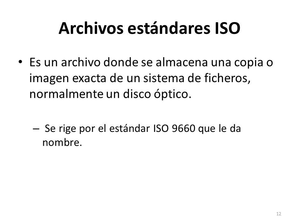 Archivos estándares ISO Es un archivo donde se almacena una copia o imagen exacta de un sistema de ficheros, normalmente un disco óptico. – Se rige po