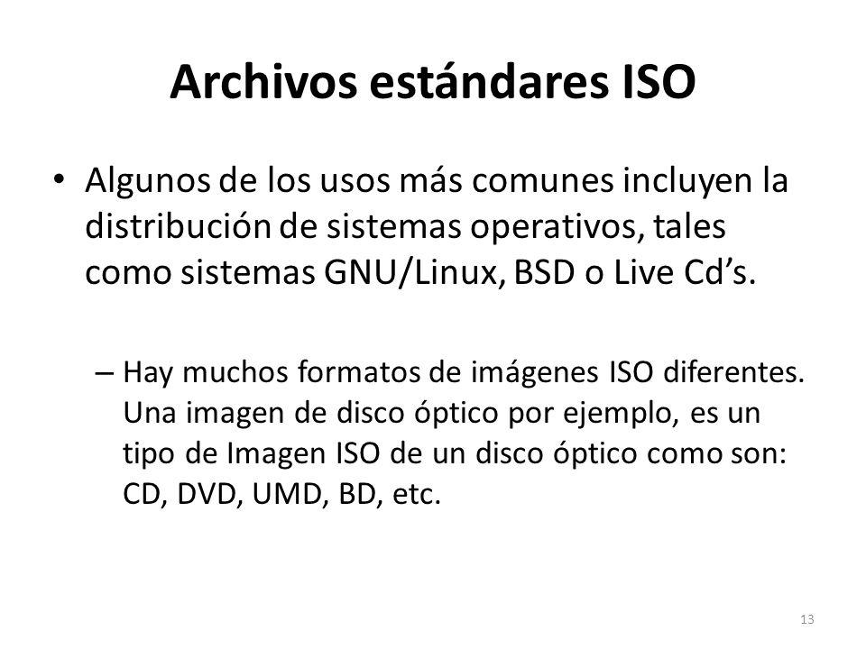 Archivos estándares ISO Algunos de los usos más comunes incluyen la distribución de sistemas operativos, tales como sistemas GNU/Linux, BSD o Live Cds