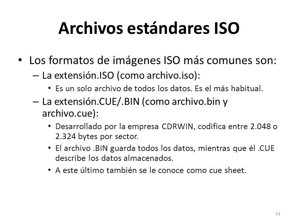 Los formatos de imágenes ISO más comunes son: – La extensión.ISO (como archivo.iso): Es un solo archivo de todos los datos. Es el más habitual. – La e