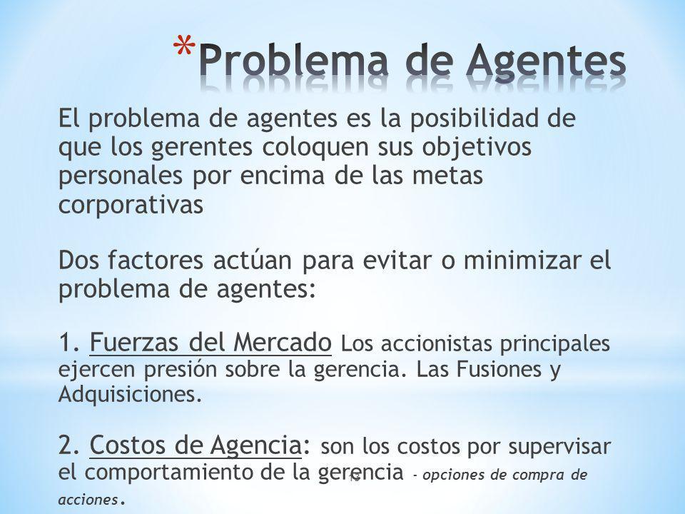 13 El problema de agentes es la posibilidad de que los gerentes coloquen sus objetivos personales por encima de las metas corporativas Dos factores actúan para evitar o minimizar el problema de agentes: 1.