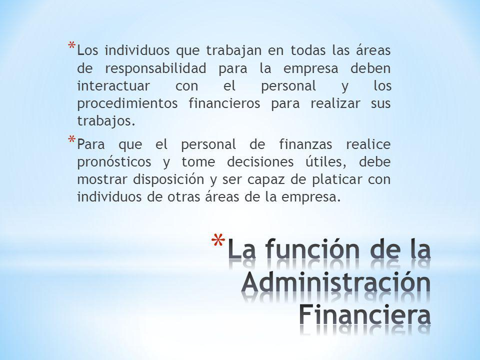 * La función de la administración financiera puede describirse de manera general al considerar su papel dentro de la organización, su relación con la economía y la contabilidad, y las principales actividades del gerente financiero.