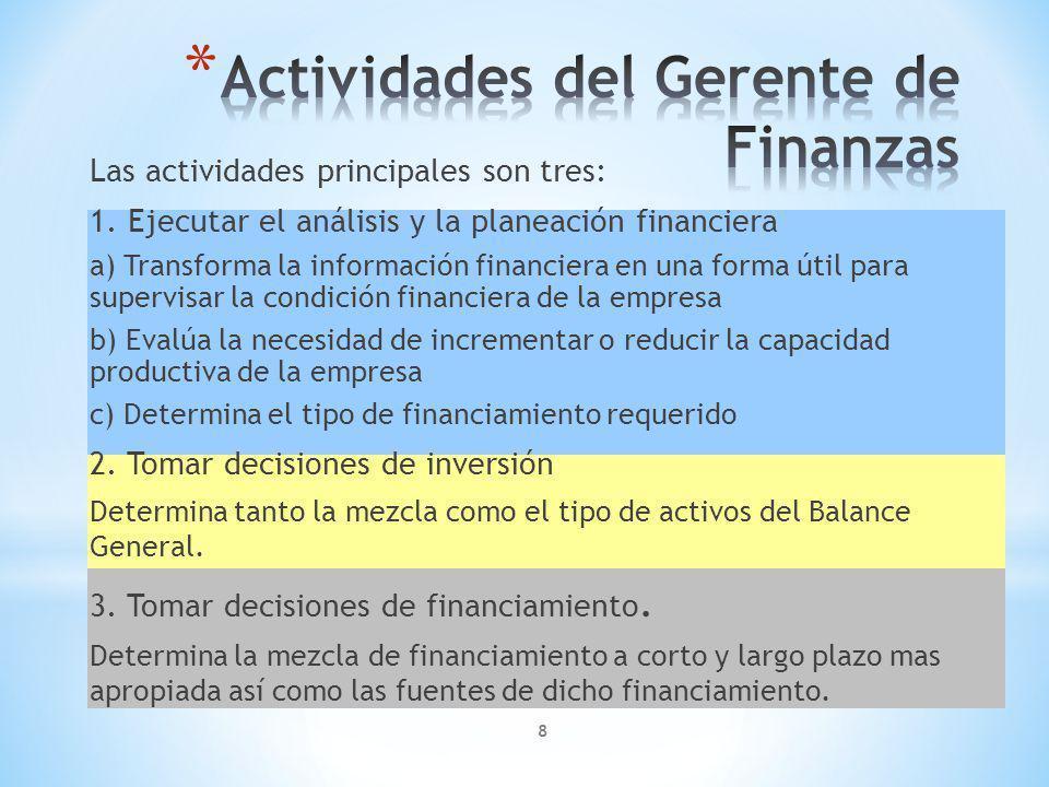 8 Las actividades principales son tres: 1.
