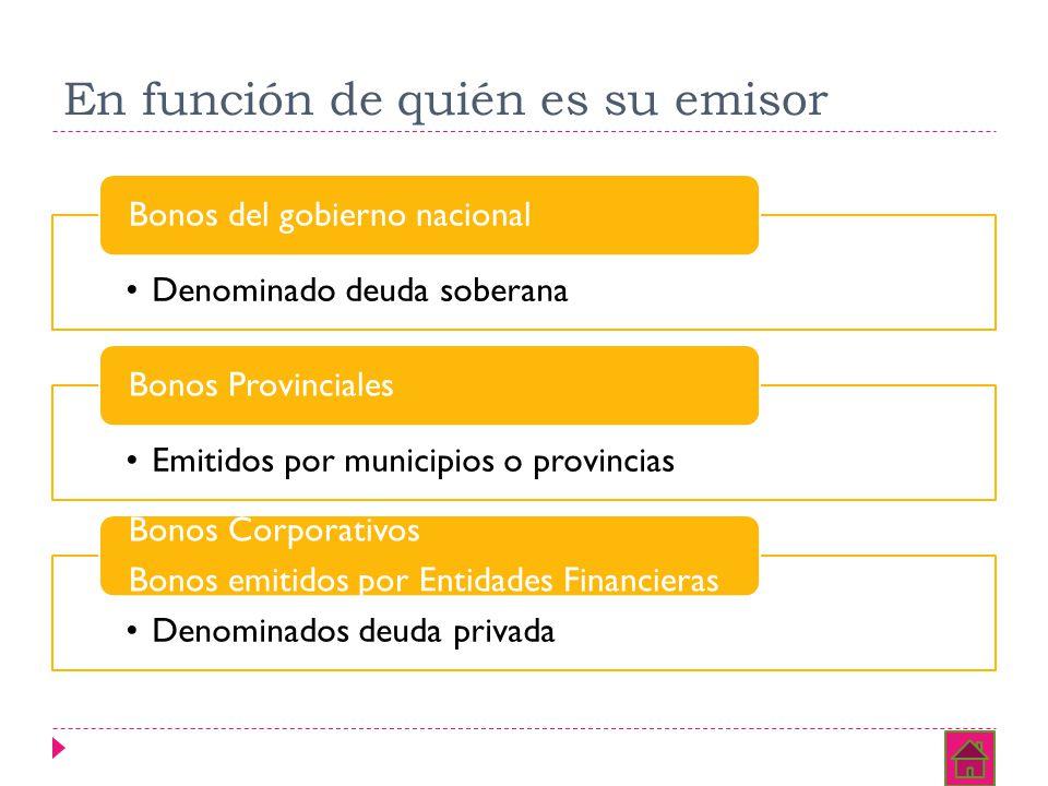 En función de quién es su emisor Denominado deuda soberana Bonos del gobierno nacional Emitidos por municipios o provincias Bonos Provinciales Denomin