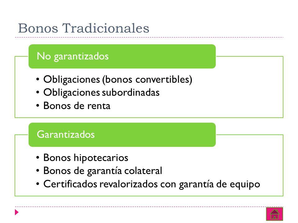 Bonos Tradicionales Obligaciones (bonos convertibles) Obligaciones subordinadas Bonos de renta No garantizados Bonos hipotecarios Bonos de garantía colateral Certificados revalorizados con garantía de equipo Garantizados