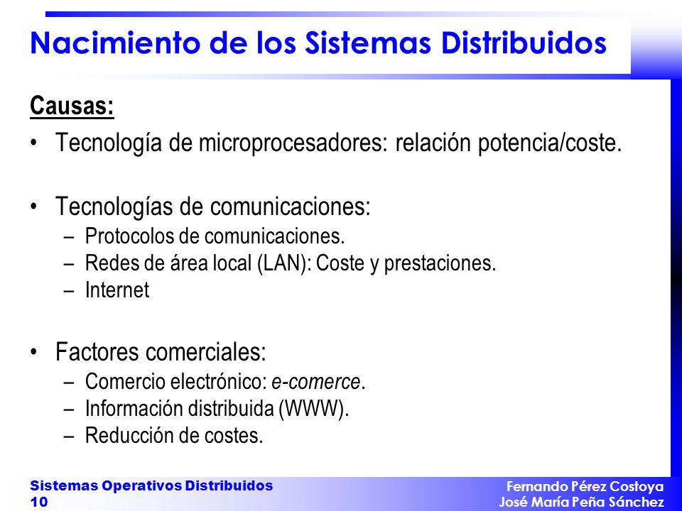 Fernando Pérez Costoya José María Peña Sánchez Sistemas Operativos Distribuidos 10 Nacimiento de los Sistemas Distribuidos Causas: Tecnología de micro
