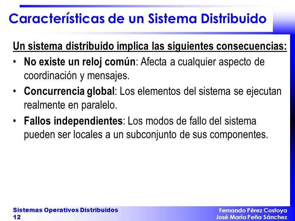 Fernando Pérez Costoya José María Peña Sánchez Sistemas Operativos Distribuidos 12 Características de un Sistema Distribuido Un sistema distribuido im