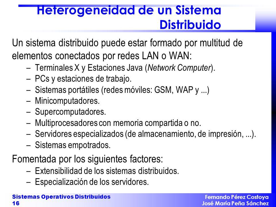 Fernando Pérez Costoya José María Peña Sánchez Sistemas Operativos Distribuidos 16 Heterogeneidad de un Sistema Distribuido Un sistema distribuido pue
