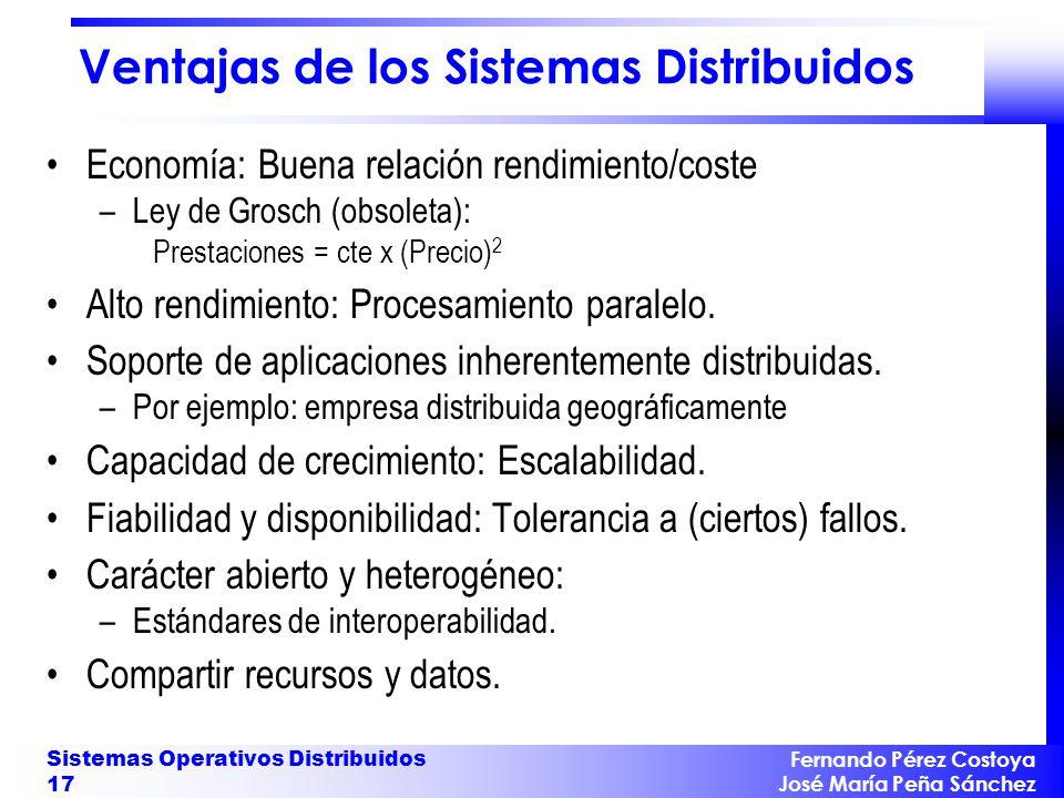 Fernando Pérez Costoya José María Peña Sánchez Sistemas Operativos Distribuidos 17 Ventajas de los Sistemas Distribuidos Economía: Buena relación rend
