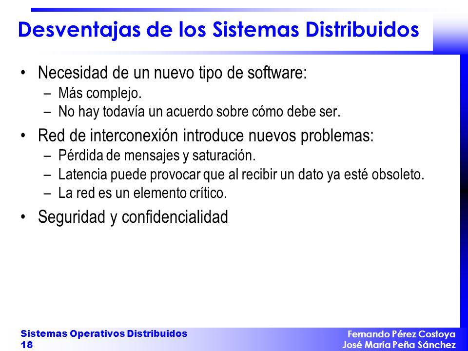 Fernando Pérez Costoya José María Peña Sánchez Sistemas Operativos Distribuidos 18 Desventajas de los Sistemas Distribuidos Necesidad de un nuevo tipo