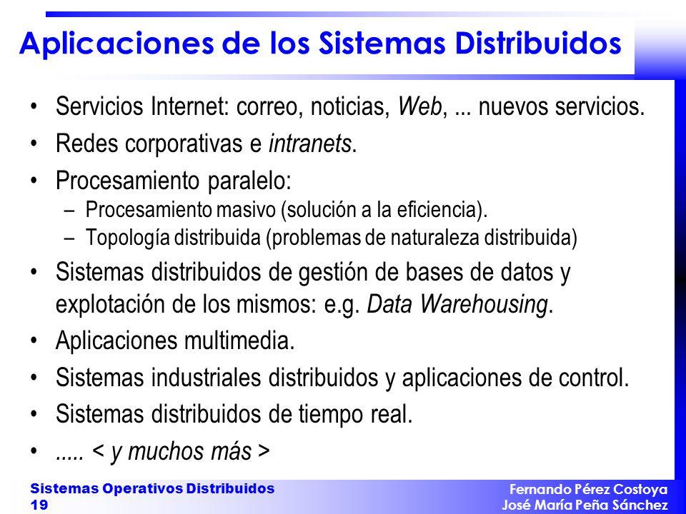 Fernando Pérez Costoya José María Peña Sánchez Sistemas Operativos Distribuidos 19 Aplicaciones de los Sistemas Distribuidos Servicios Internet: corre
