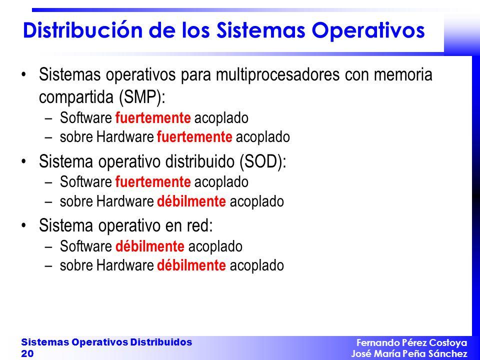 Fernando Pérez Costoya José María Peña Sánchez Sistemas Operativos Distribuidos 20 Distribución de los Sistemas Operativos Sistemas operativos para mu