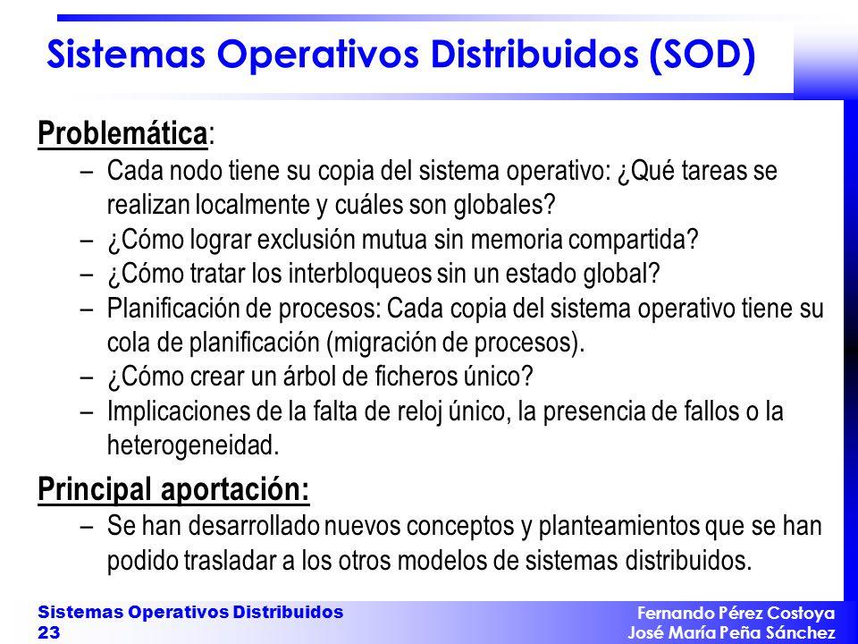 Fernando Pérez Costoya José María Peña Sánchez Sistemas Operativos Distribuidos 23 Sistemas Operativos Distribuidos (SOD) Problemática : –Cada nodo ti